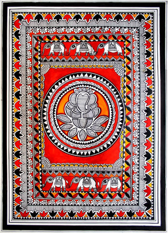 Lord Ganesh Madhubani Painting by Shoba Shetty