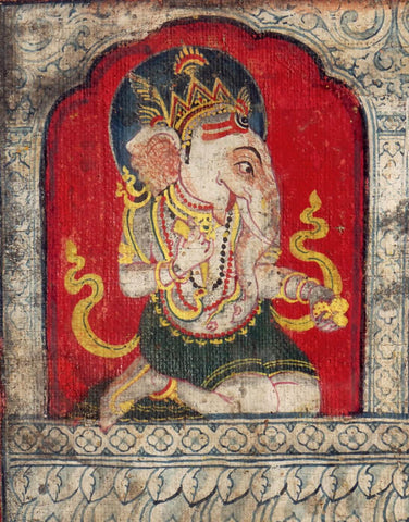 Lord Ganesha - 19 Century Indian Vintage Miniature Painting by Raghuraman