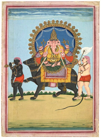 Lord Ganesha - Indian Vintage Miniature Painting by Raghuraman