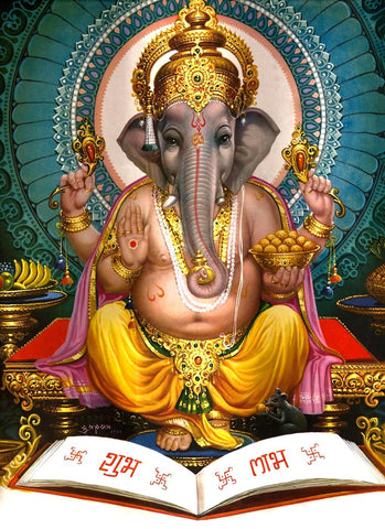 Lord Ganesha - Traditional Indian Art Painting by Raghuraman