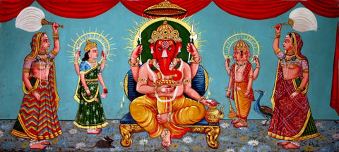 Lord Ganesha - Traditional Indian Painting by Raghuraman