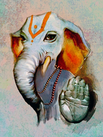Lord Ganesha Blessing Contemporary Ganapati Painting