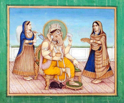Lord Ganesha With Devotees - Delhi School - 19 Century Indian Vintage Miniature Painting