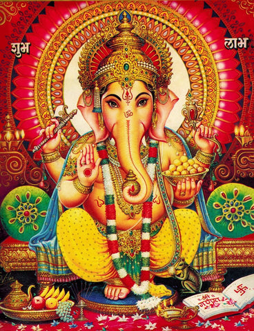 Lord Ganpati - Shubh Labh - Traditional Indian Ganesha Painting by Raghuraman