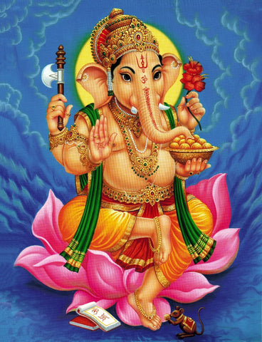 Lord Ganpati - Traditional Indian Ganesha Painting by Raghuraman