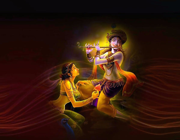Lord Krishna Playing Flute with Radha - Art Prints