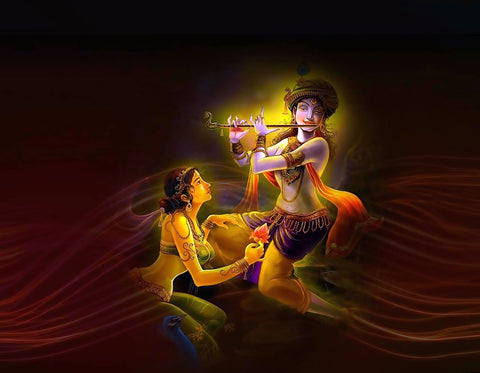 Lord Krishna Playing Flute with Radha