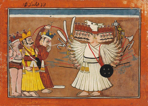 Lord Rama battles Ravana - Rajput Painting - Mandi - 18 Century Vintage Indian Miniature Art From Ramayana