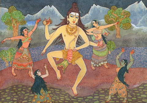 Lord Shiva Dances with Female Devotees - S Rajam by S. Rajam