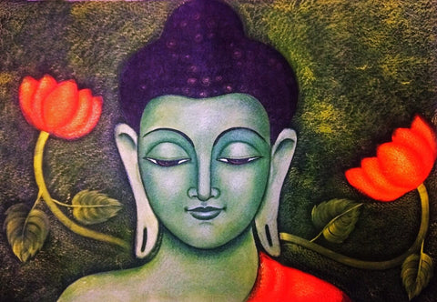 Acrylic Painting - Lotus Buddha by James Britto