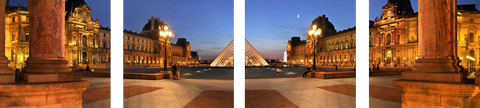 Louvre Pyramid And Museum Paris - Art Panels by Hamid Raza