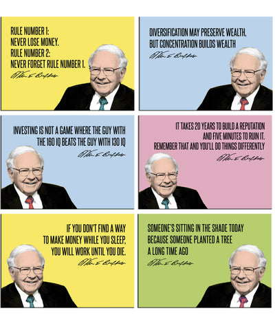 Warren Buffet - Set of 6 Portraits Fridge Magnets by Tallenge Store