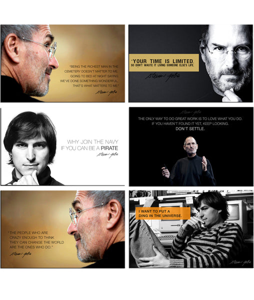 Fridge Magnets of Steve Jobs - Set of 6 Portraits Fridge Magnets by Tallenge Store