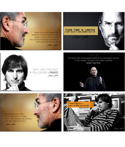 Steve Jobs - Set of 6 Portraits Fridge Magnets by Tallenge Store