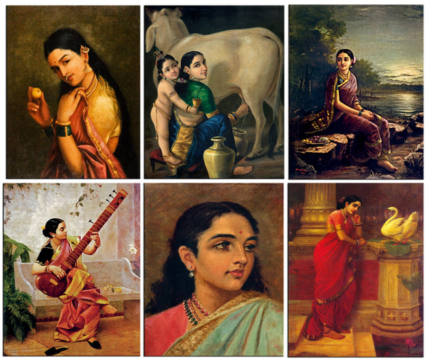 Fridge Magnets of Raja Ravi Varma - Set of 6 Portraits Fridge Magnets by Raja Ravi Varma