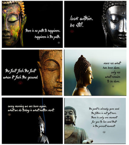 Buddha - Set of 6 Portraits Fridge Magnets