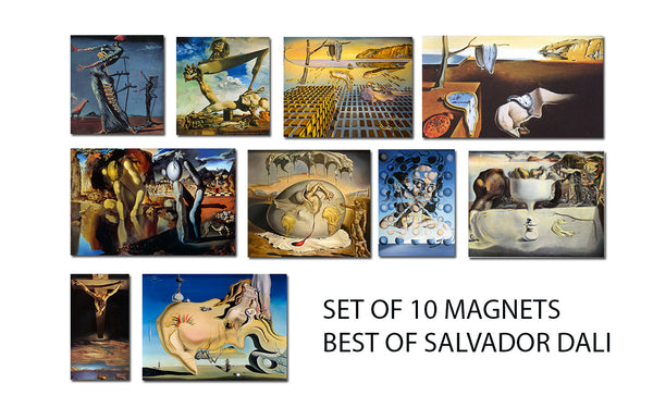 Fridge Magnets of Salvador Dali - Set of 10 Best of Dali Fridge Magnets by Salvador Dali