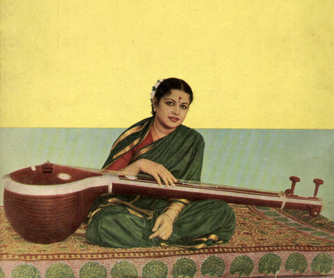 M S Subbalakshmi With Veena - Indian Classical Carnatic Music Poster Art Print by Anika