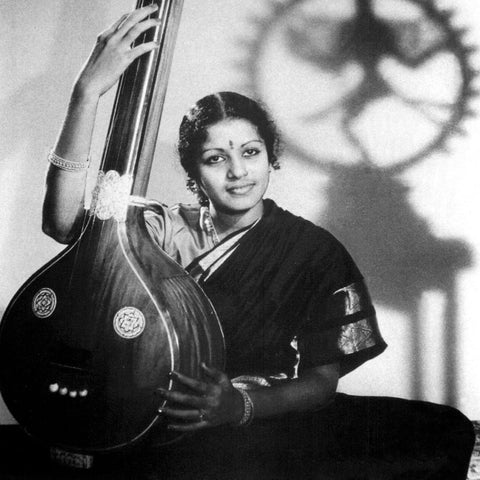 M S Subbulakshmi with Veena - Rare Photograph - Hindustani Carnatic Musician - Poster by Anika