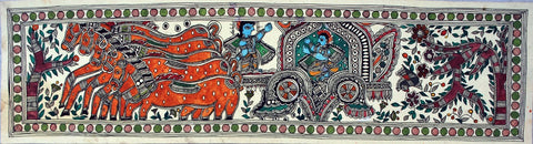 Indian Miniature Art - Madhubani Painting - Mahabharatha by Kritanta Vala