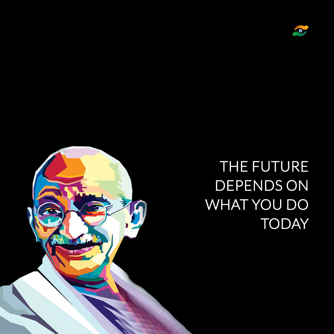 Inspirational Day Quotes: Set Of 3 Mahatma Gandhi Quotes In English With Black