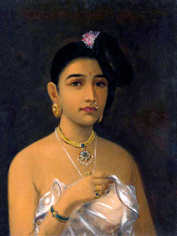 Malayalee Woman - Raja Ravi Varma Painting -  Vintage Indian Art by Raja Ravi Varma