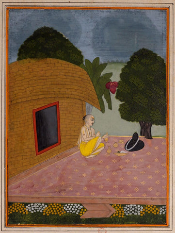 Indian Miniature Art - Rajput Painting - Man Worshipping Shiva Linga by Kritanta Vala