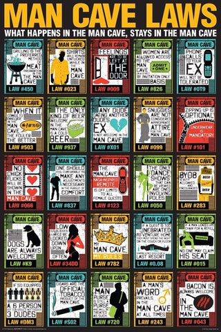 Man Cave Rules - Home Bar Poster