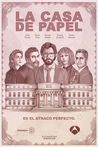 Money Heist - La Casa De Papel - Bank Note Style Poster Art by Tallenge Store
