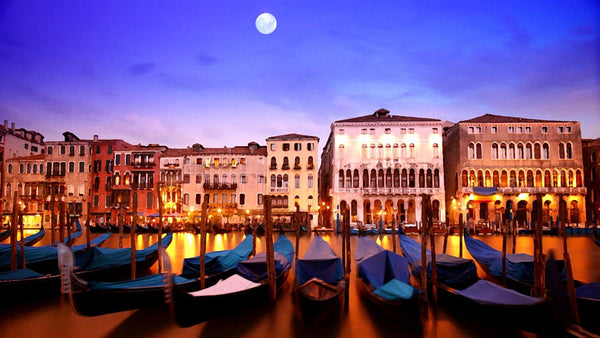 Moonlight Sonata - A Beautiful Night View Of Venice Grand Canal And Gondolas - Painting - Canvas Prints