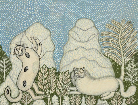 Morris Hirshfield - Cats In The Snow - Framed Prints