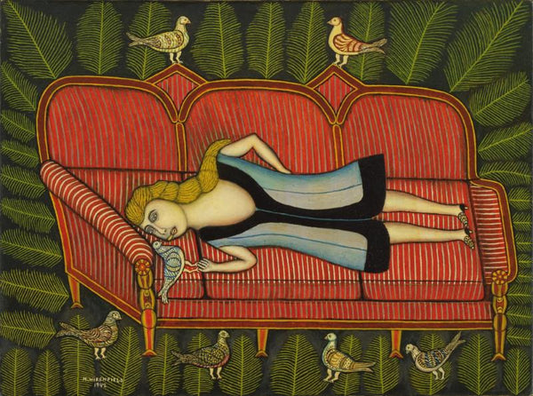 Morris Hirshfield - Girl With Pigeons - Framed Prints