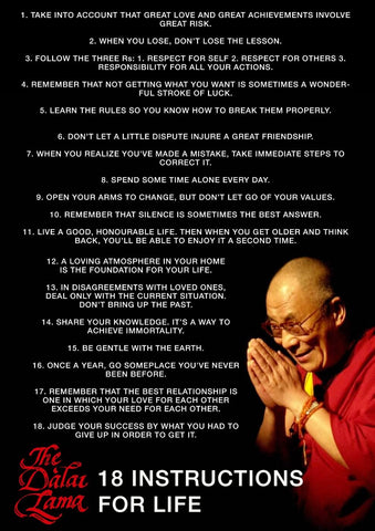 Motivational Art  - Dalai Lama - 18 Instructions For Life - Inspirational Living