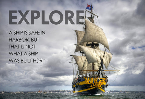 Motivational Quote: Explore - Framed Prints