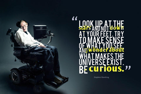 Motivational Poster - Stephen Hawking - Look Up At The Stars Not Down At Your Feet Be Curious - Inspirational Quotes - Posters by Kaiden Thompson