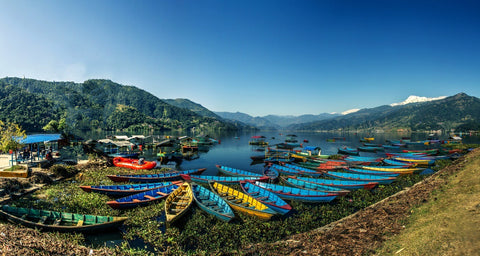 Mountain view of Macchapuchare from Phewa lake in Pokhara Nepal