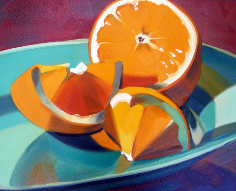 Orange Slices On Blue Plate by Deepak Tomar