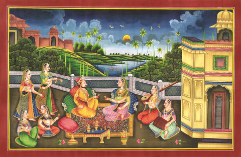 Indian Miniature Art - Rajput Painting - Evening Melody