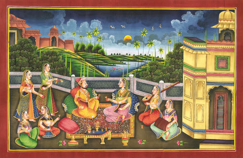 Indian Miniature Art - Rajput Painting - Evening Melody by Anonymous Artist