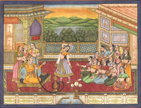 Indian Miniature Art - Mughal Painting - Evening