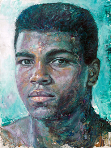 Muhammad Ali - The Portrait Of A Young Boxer - Oil Painting - Canvas Prints