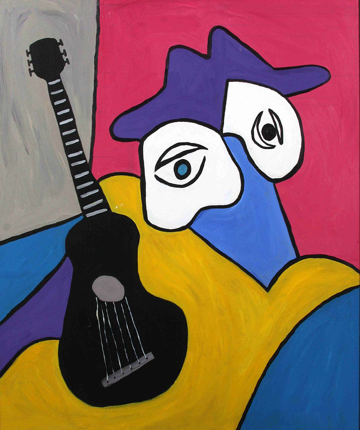Musician And His Black Guitar - Canvas Prints by Christopher Noel ...