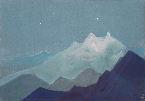 Himalayas Moonlit Mountains -  Nicholas Roerich Painting –  Landscape Art by Nicholas Roerich