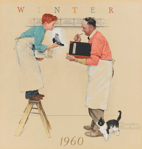 Boy And The Shopkeeper: Taking Inventory - Posters by Norman Rockwell