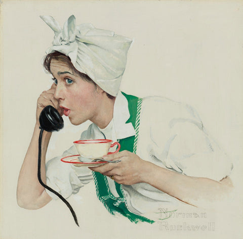 Housewife At Tea Break - Posters by Norman Rockwell