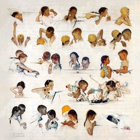 Day In The Life Of A Little Girl - Posters by Norman Rockwell