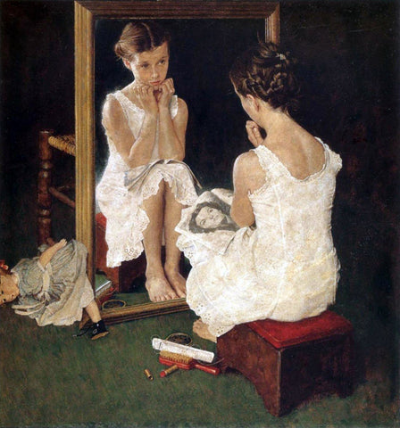 Girl At Mirror - Posters by Norman Rockwell
