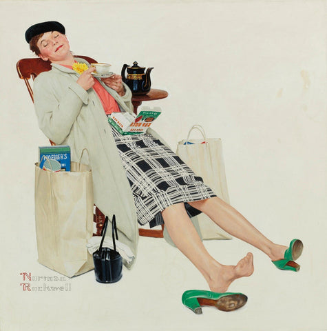 Woman Relaxing With Tea After Shopping - Posters by Norman Rockwell