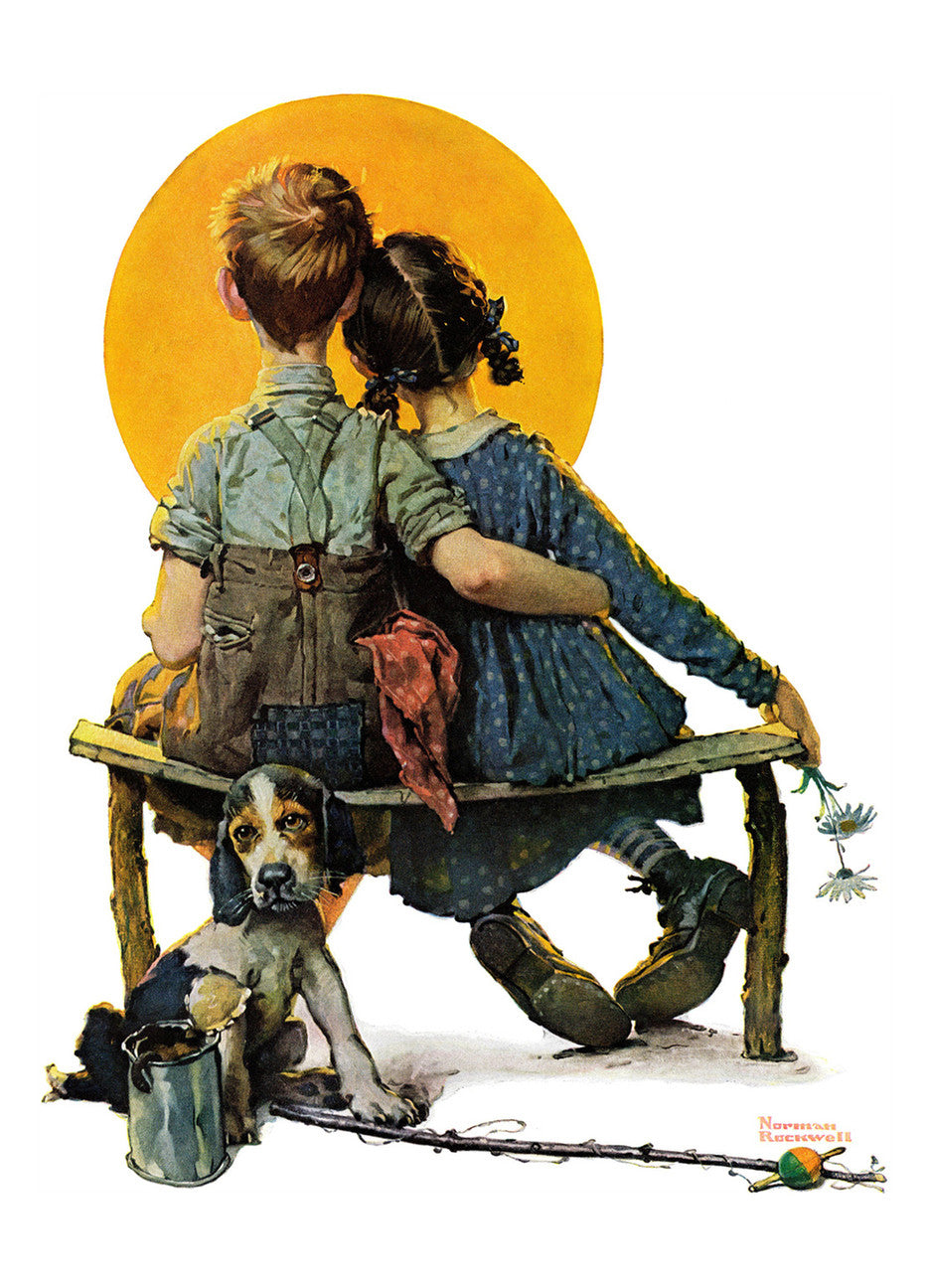 Norman Rockwell - Little Spooners or Sunset by Norman Rockwell | Buy ...