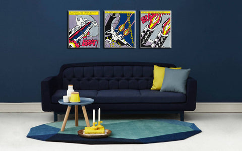 Set Of 3 Roy Lichtenstein Paintings - As I Opened Fire - Gallery Wrapped Art Print ( 10 x 12 inches ) each